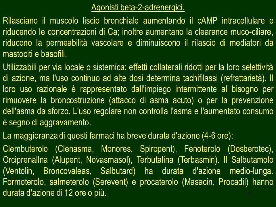 21 Agonisti beta-2-adrenergici. Rilasciano il muscolo liscio bronchiale aumentando il cAMP intracellulare e riducendo le concentrazioni di Ca; inoltre