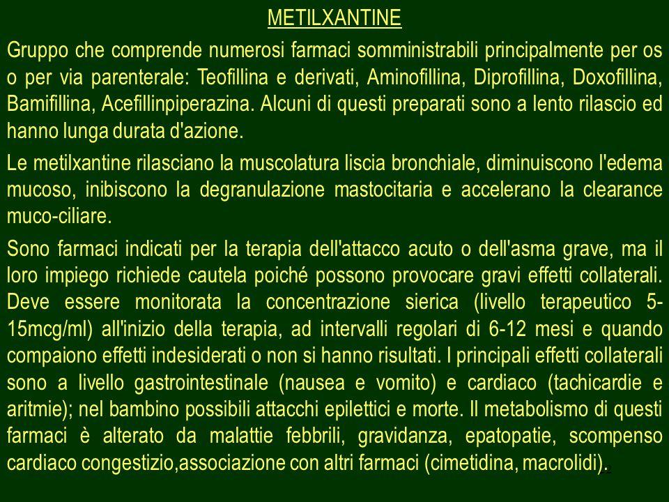 22 METILXANTINE Gruppo che comprende numerosi farmaci somministrabili principalmente per os o per via parenterale: Teofillina e derivati, Aminofillina