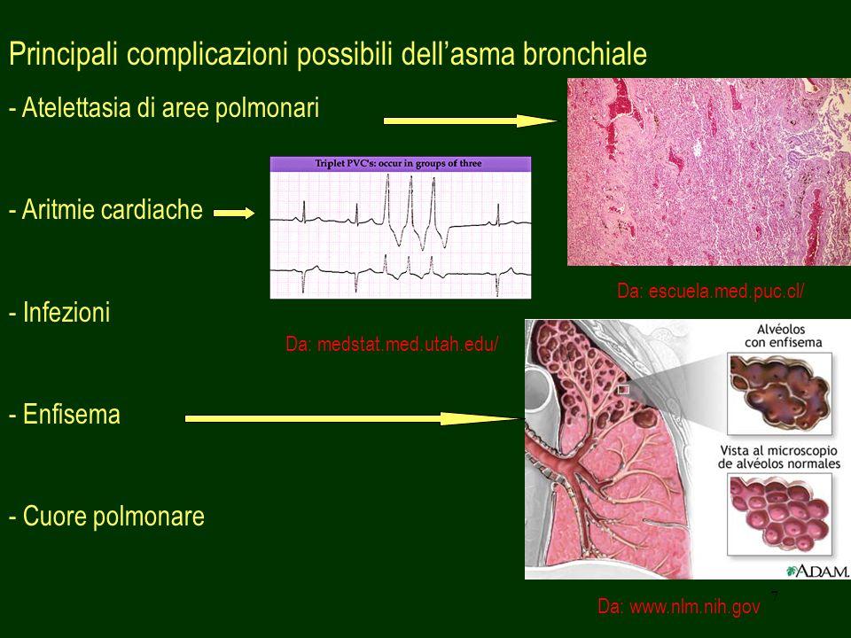 7 Principali complicazioni possibili dellasma bronchiale - Atelettasia di aree polmonari - Aritmie cardiache - Infezioni - Enfisema - Cuore polmonare
