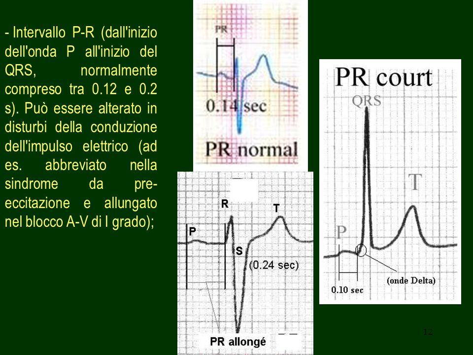 12 - Intervallo P-R (dall'inizio dell'onda P all'inizio del QRS, normalmente compreso tra 0.12 e 0.2 s). Può essere alterato in disturbi della conduzi