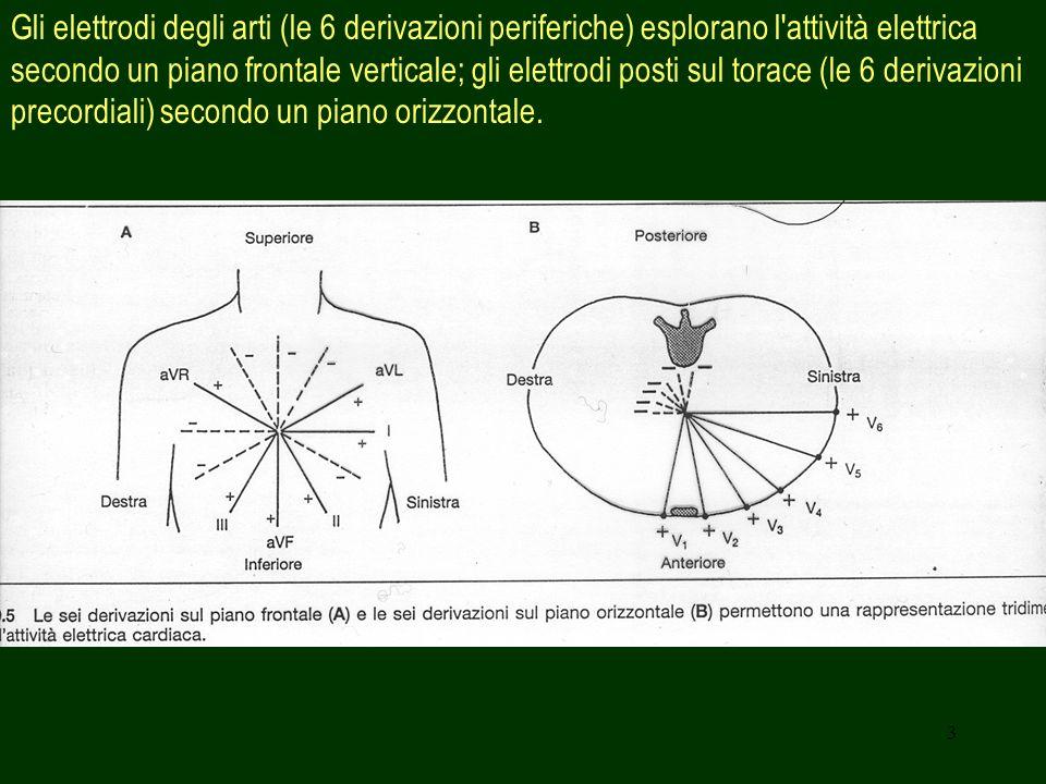 3 Gli elettrodi degli arti (le 6 derivazioni periferiche) esplorano l'attività elettrica secondo un piano frontale verticale; gli elettrodi posti sul