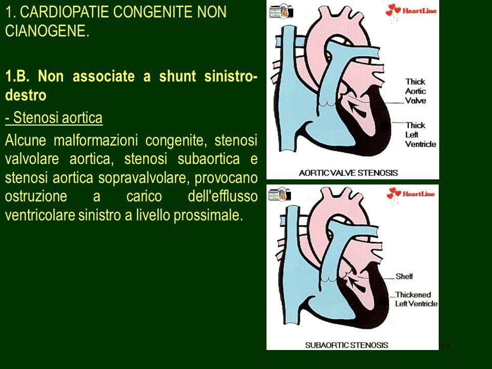 33 1. CARDIOPATIE CONGENITE NON CIANOGENE. 1.B. Non associate a shunt sinistro- destro - Stenosi aortica Alcune malformazioni congenite, stenosi valvo