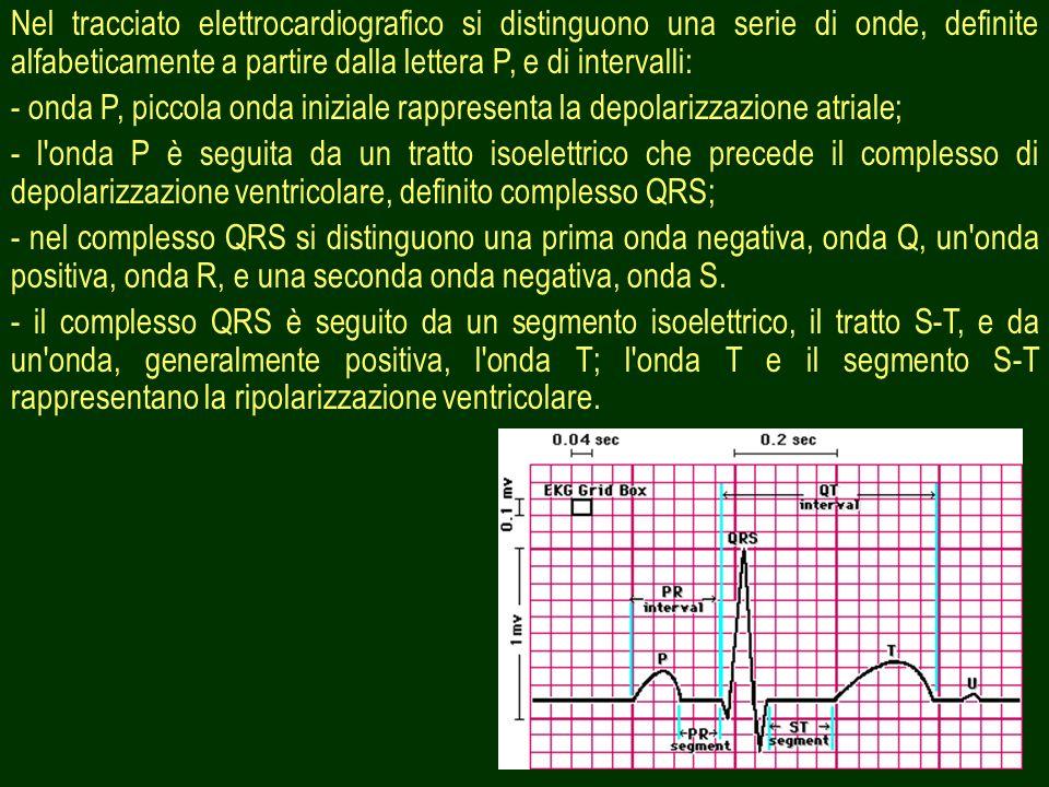 6 Nel tracciato elettrocardiografico si distinguono una serie di onde, definite alfabeticamente a partire dalla lettera P, e di intervalli: - onda P,