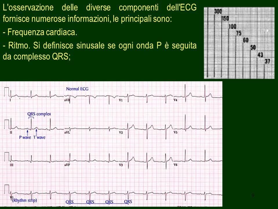 9 L'osservazione delle diverse componenti dell'ECG fornisce numerose informazioni, le principali sono: - Frequenza cardiaca. - Ritmo. Si definisce sin