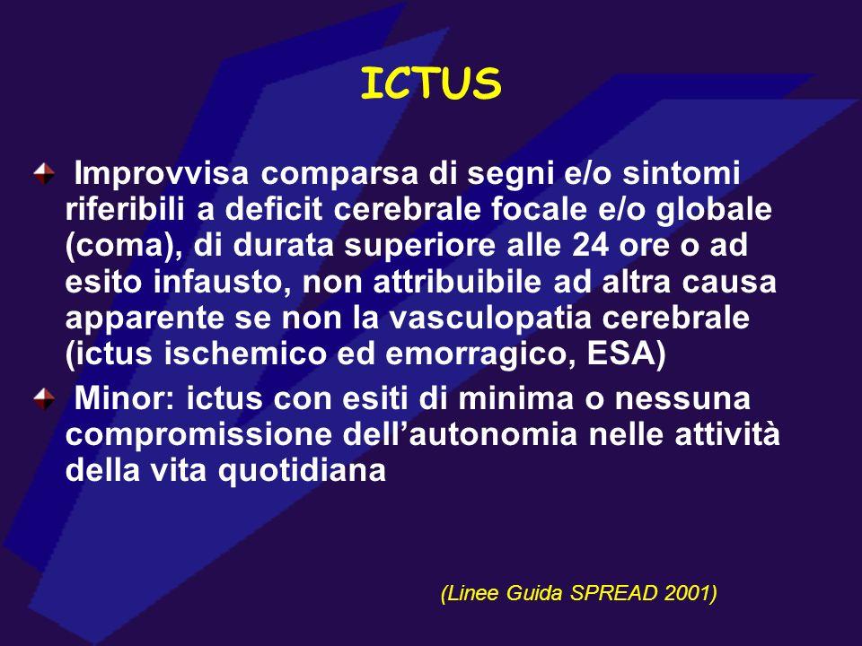Improvvisa comparsa di segni e/o sintomi riferibili a deficit cerebrale focale e/o globale (coma), di durata superiore alle 24 ore o ad esito infausto