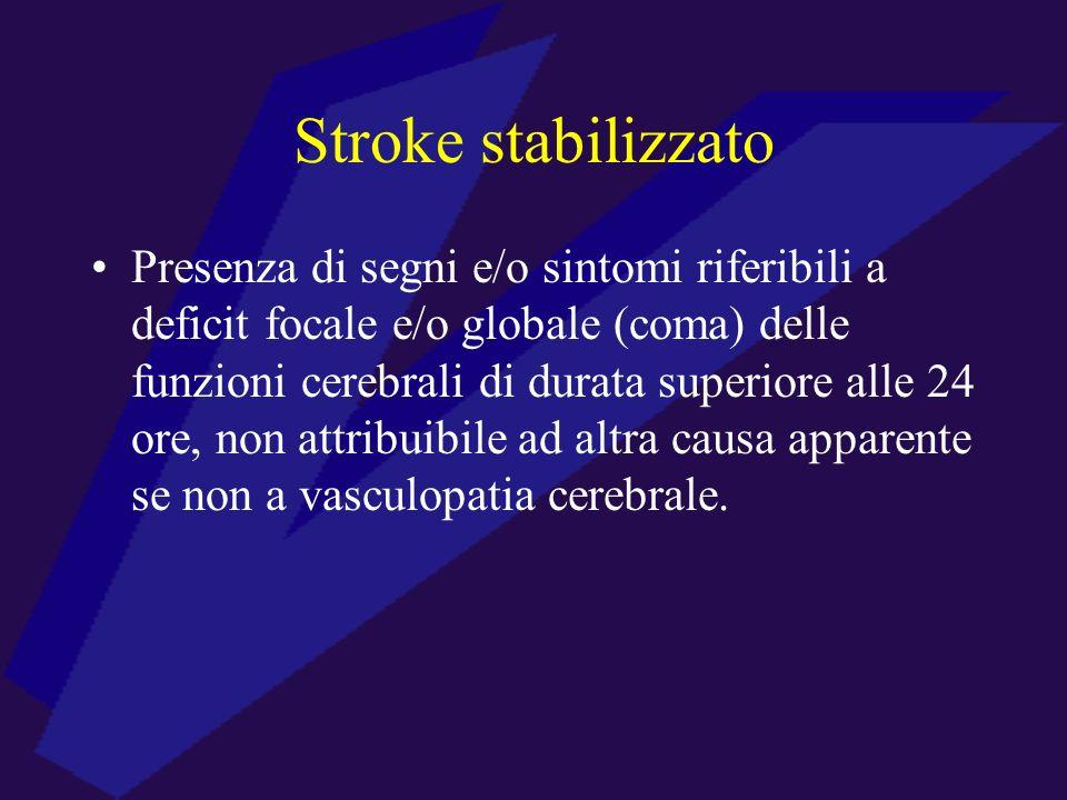 Stroke stabilizzato Presenza di segni e/o sintomi riferibili a deficit focale e/o globale (coma) delle funzioni cerebrali di durata superiore alle 24
