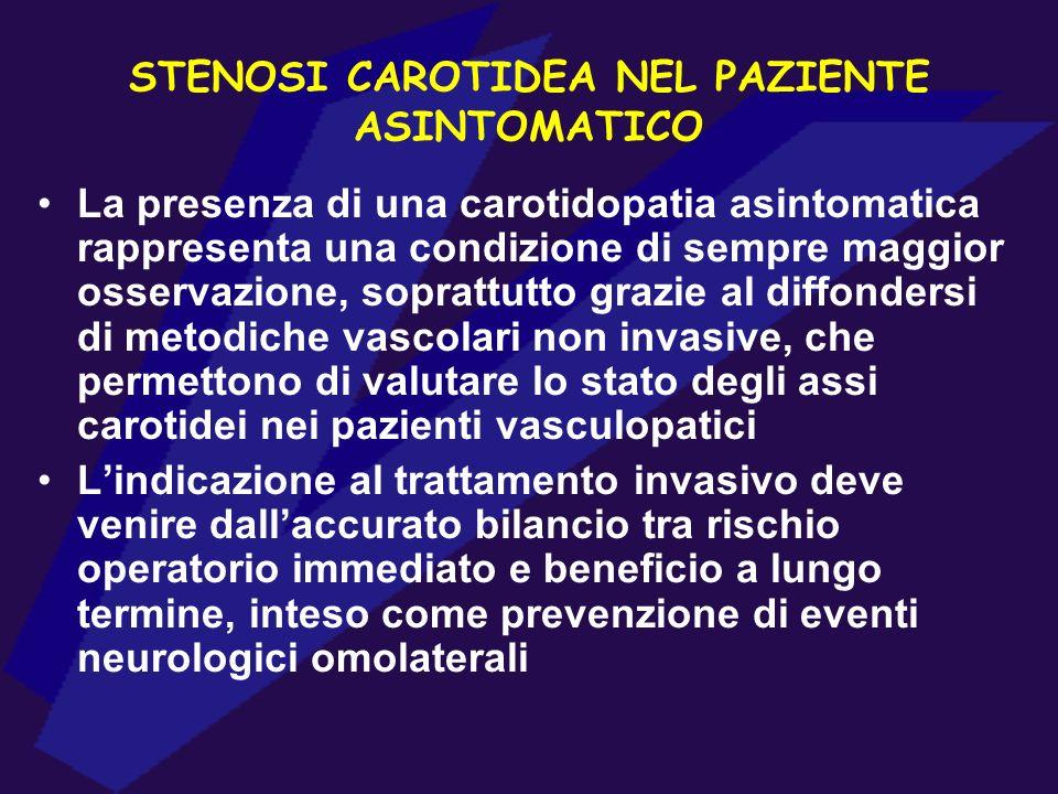 STENOSI CAROTIDEA NEL PAZIENTE ASINTOMATICO La presenza di una carotidopatia asintomatica rappresenta una condizione di sempre maggior osservazione, s