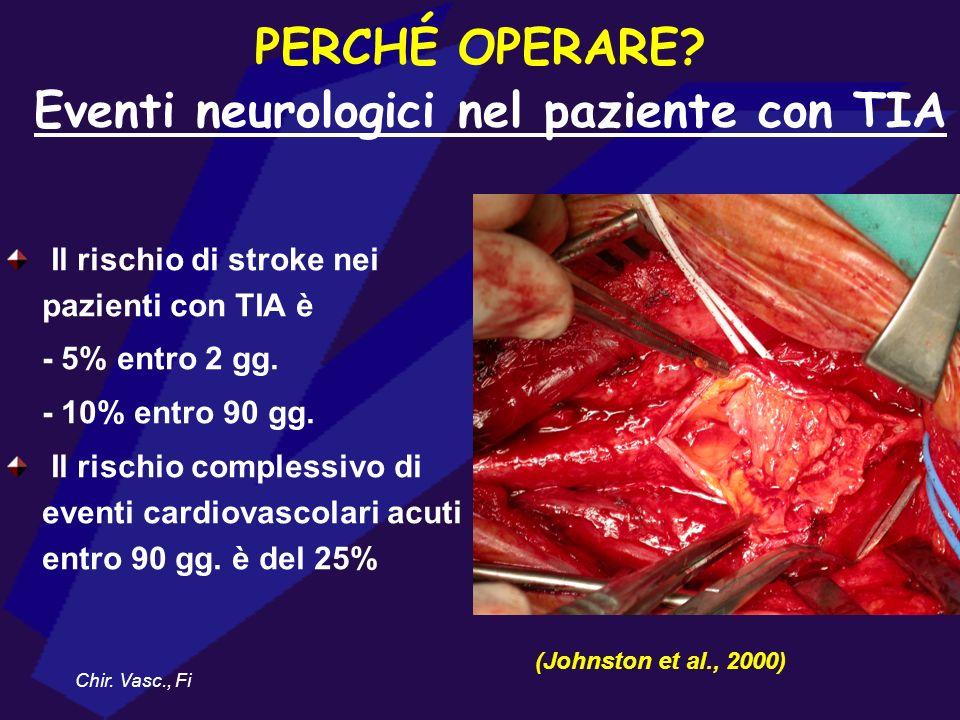 Il rischio di stroke nei pazienti con TIA è - 5% entro 2 gg. - 10% entro 90 gg. Il rischio complessivo di eventi cardiovascolari acuti entro 90 gg. è