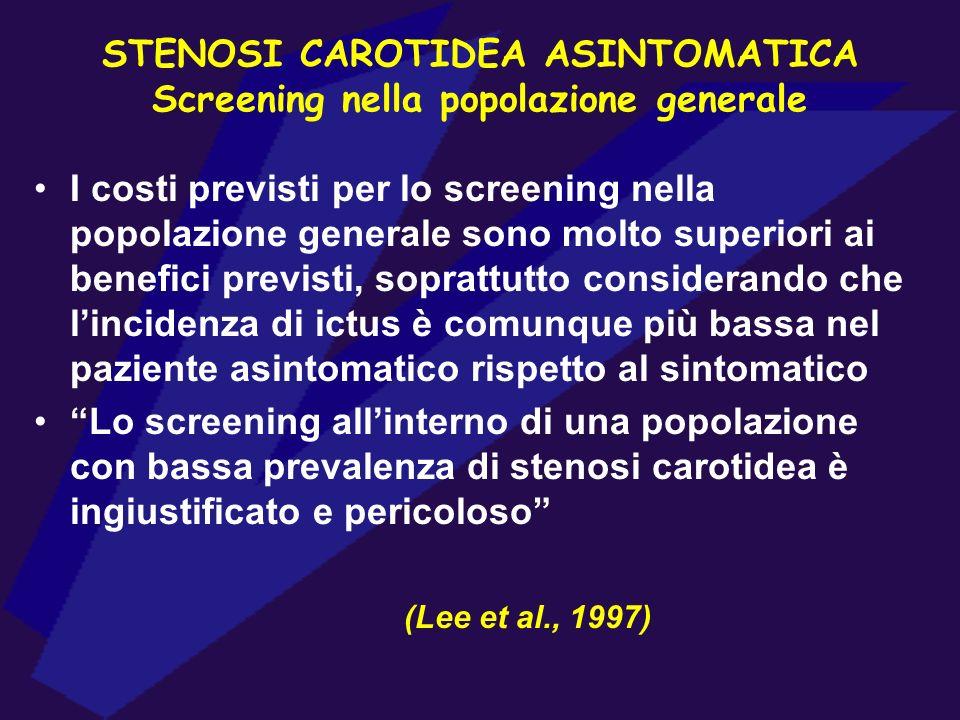STENOSI CAROTIDEA ASINTOMATICA Screening nella popolazione generale I costi previsti per lo screening nella popolazione generale sono molto superiori