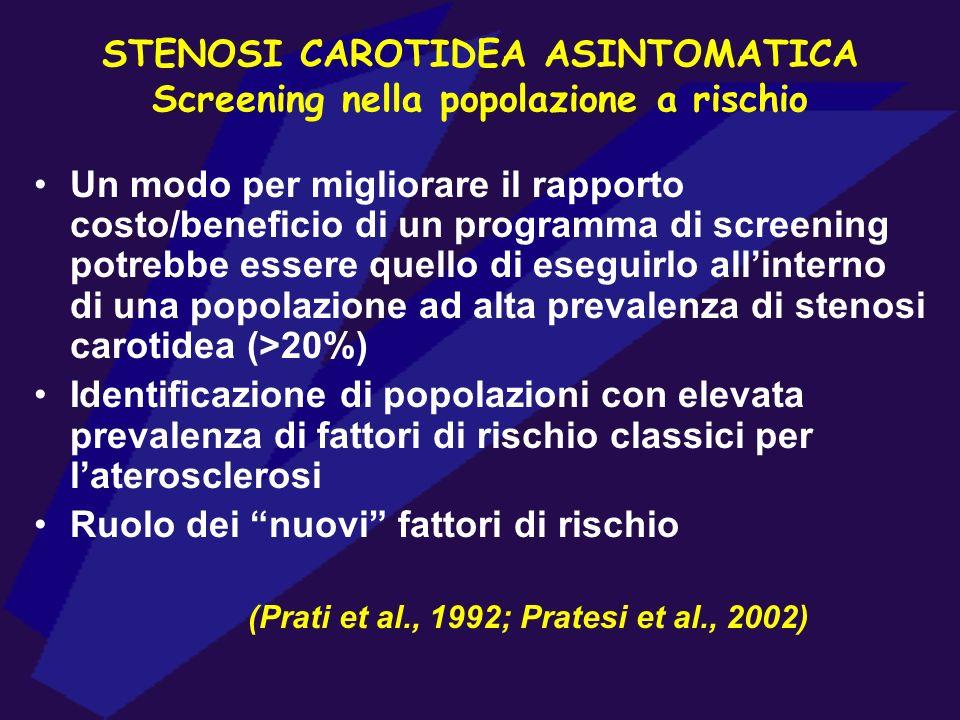STENOSI CAROTIDEA ASINTOMATICA Screening nella popolazione a rischio Un modo per migliorare il rapporto costo/beneficio di un programma di screening p