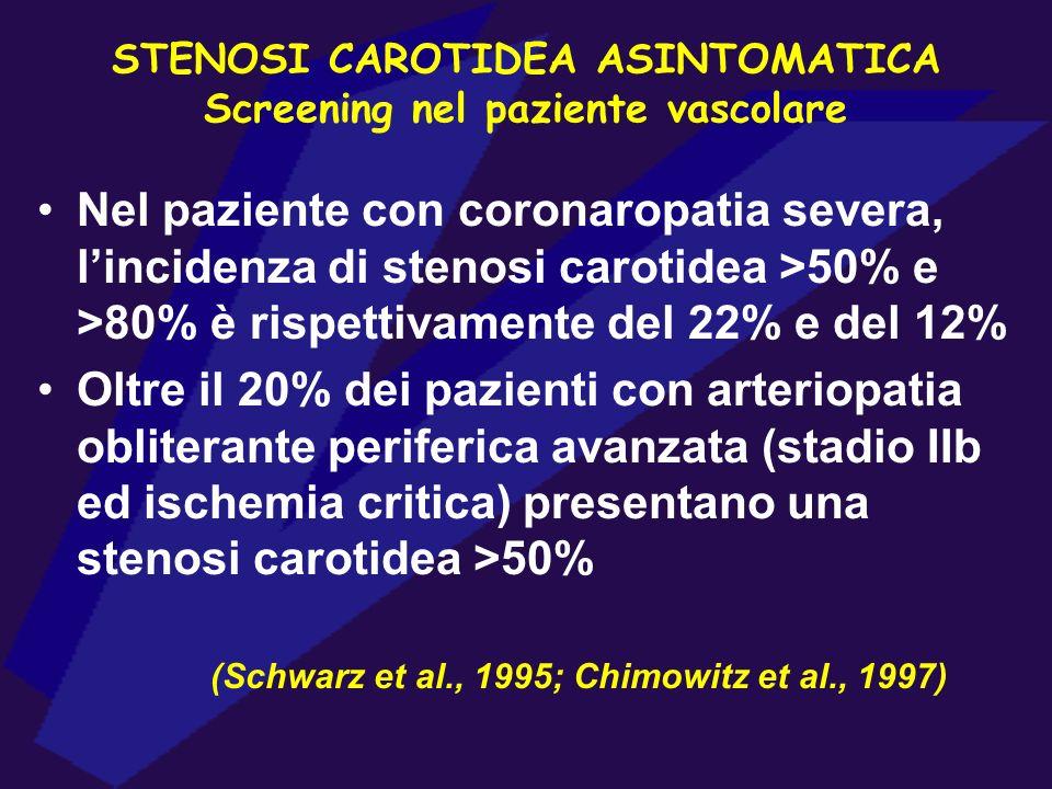 STENOSI CAROTIDEA ASINTOMATICA Screening nel paziente vascolare Nel paziente con coronaropatia severa, lincidenza di stenosi carotidea >50% e >80% è r