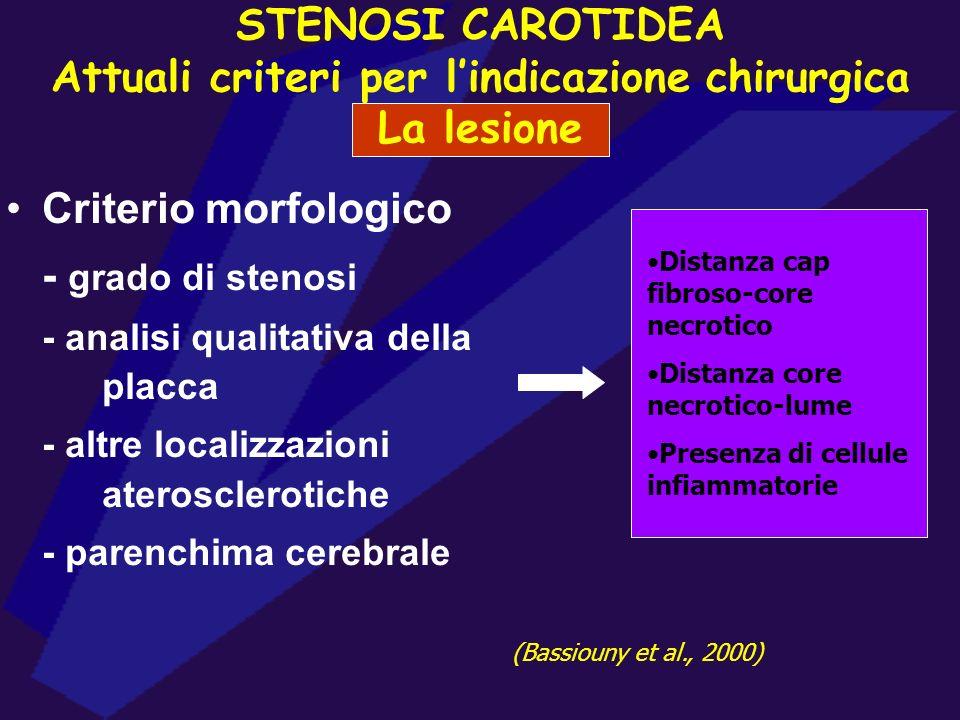 Criterio morfologico - grado di stenosi - analisi qualitativa della placca - altre localizzazioni aterosclerotiche - parenchima cerebrale Distanza cap
