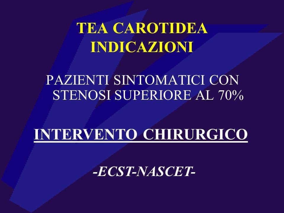 PAZIENTI SINTOMATICI CON STENOSI SUPERIORE AL 70% -ECST-NASCET- INTERVENTO CHIRURGICO TEA CAROTIDEA INDICAZIONI