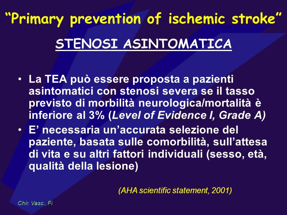 Primary prevention of ischemic stroke STENOSI ASINTOMATICA La TEA può essere proposta a pazienti asintomatici con stenosi severa se il tasso previsto