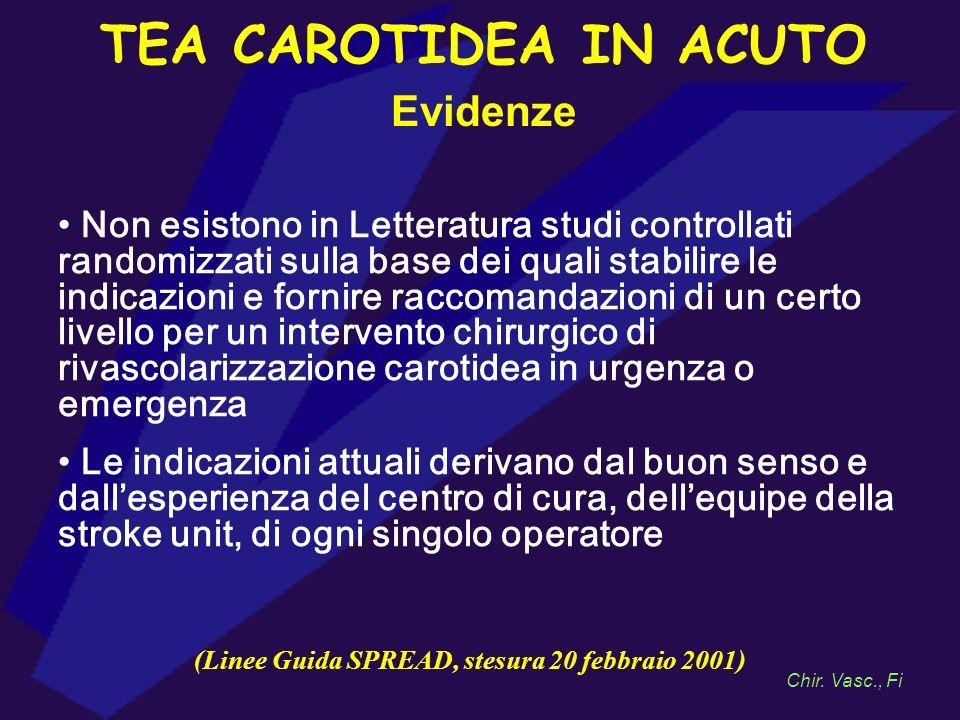 TEA CAROTIDEA IN ACUTO Evidenze Non esistono in Letteratura studi controllati randomizzati sulla base dei quali stabilire le indicazioni e fornire rac