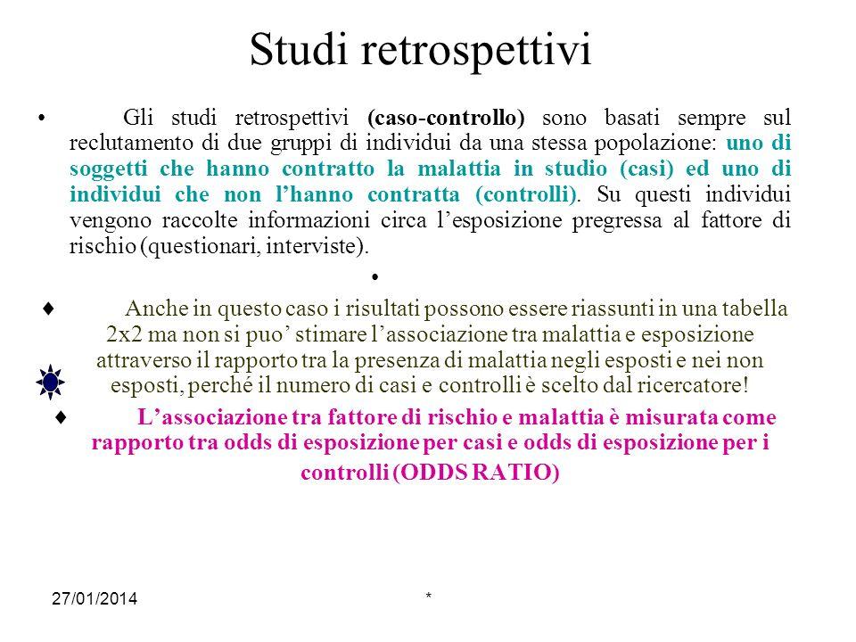 27/01/2014* Studi retrospettivi Gli studi retrospettivi (caso-controllo) sono basati sempre sul reclutamento di due gruppi di individui da una stessa