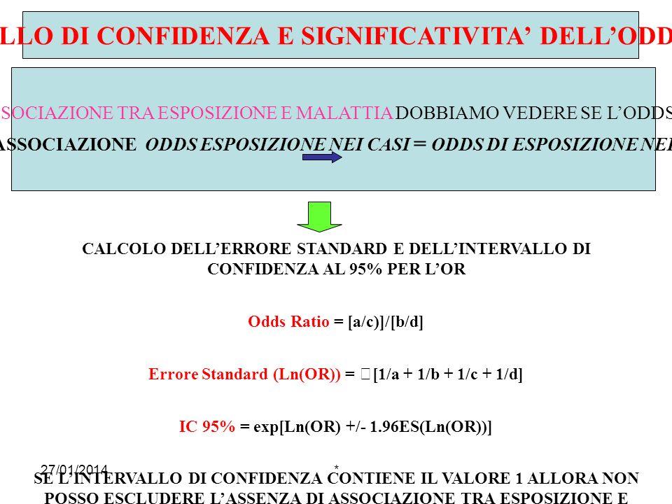 27/01/2014* INTERVALLO DI CONFIDENZA E SIGNIFICATIVITA DELLODDS RATIO PER VALUTARE LA PRESENZA DI UNA REALE ASSOCIAZIONE TRA ESPOSIZIONE E MALATTIA DO