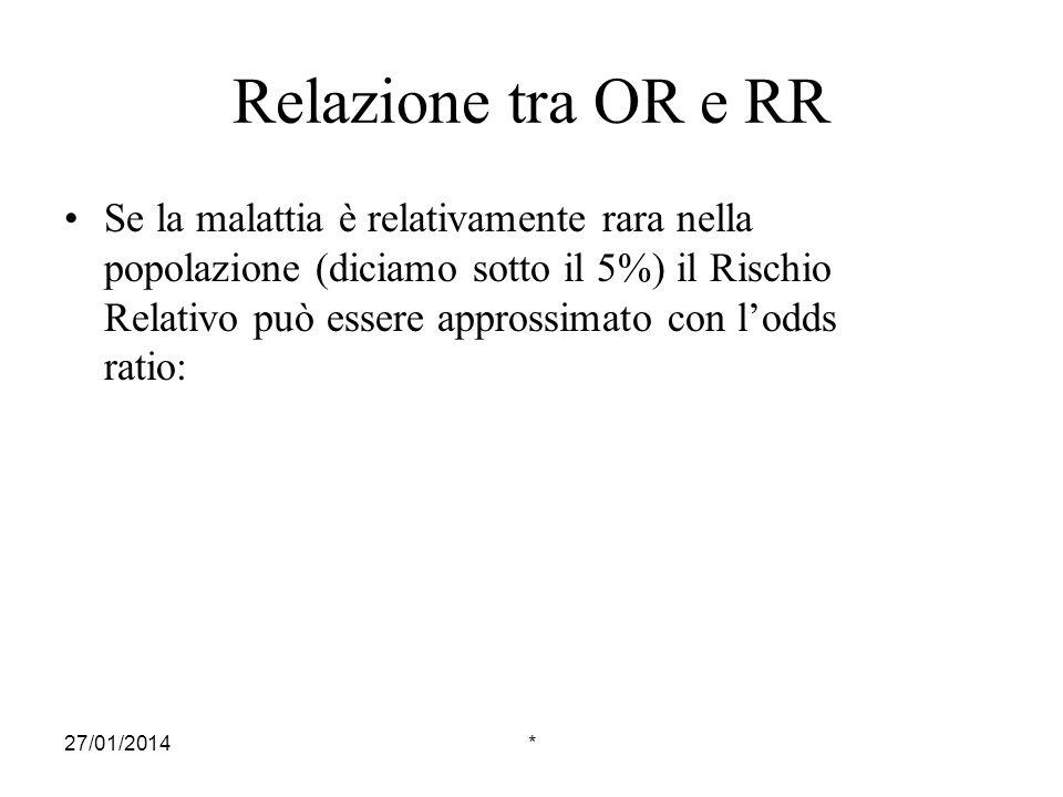 27/01/2014* Relazione tra OR e RR Se la malattia è relativamente rara nella popolazione (diciamo sotto il 5%) il Rischio Relativo può essere approssim