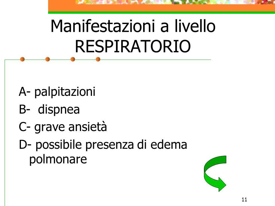 11 Manifestazioni a livello RESPIRATORIO A- palpitazioni B- dispnea C- grave ansietà D- possibile presenza di edema polmonare