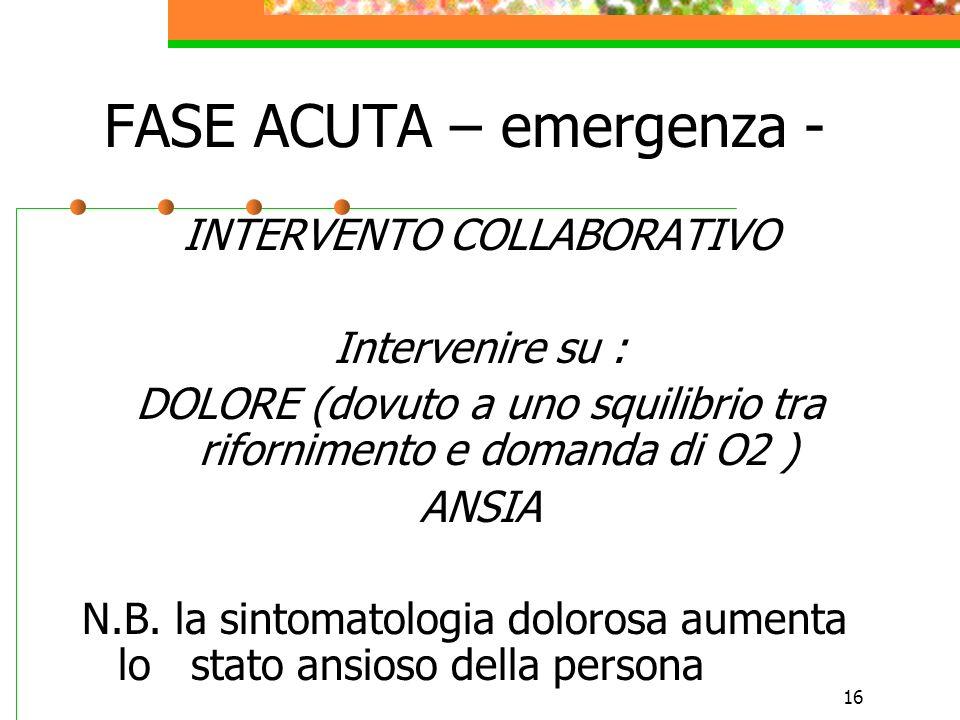 16 FASE ACUTA – emergenza - INTERVENTO COLLABORATIVO Intervenire su : DOLORE (dovuto a uno squilibrio tra rifornimento e domanda di O2 ) ANSIA N.B. la