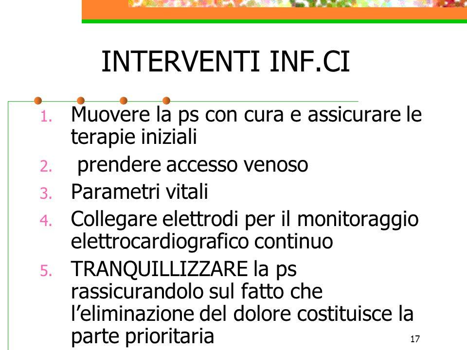 17 INTERVENTI INF.CI 1. Muovere la ps con cura e assicurare le terapie iniziali 2. prendere accesso venoso 3. Parametri vitali 4. Collegare elettrodi
