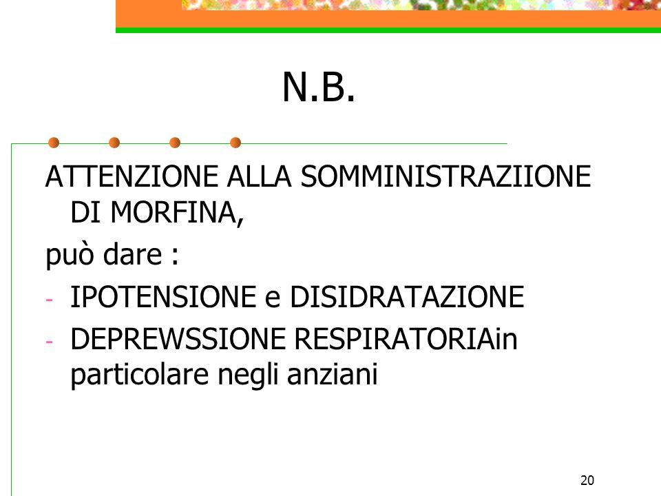 20 N.B. ATTENZIONE ALLA SOMMINISTRAZIIONE DI MORFINA, può dare : - IPOTENSIONE e DISIDRATAZIONE - DEPREWSSIONE RESPIRATORIAin particolare negli anzian