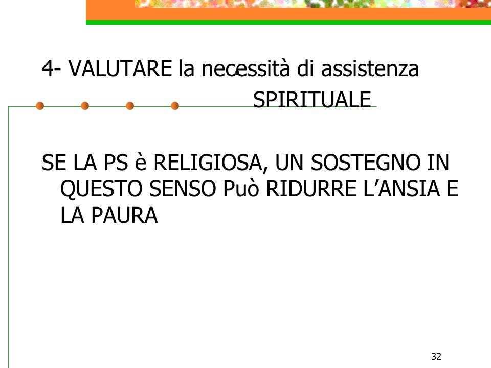 32. 4- VALUTARE la necessità di assistenza SPIRITUALE SE LA PS è RELIGIOSA, UN SOSTEGNO IN QUESTO SENSO Può RIDURRE LANSIA E LA PAURA