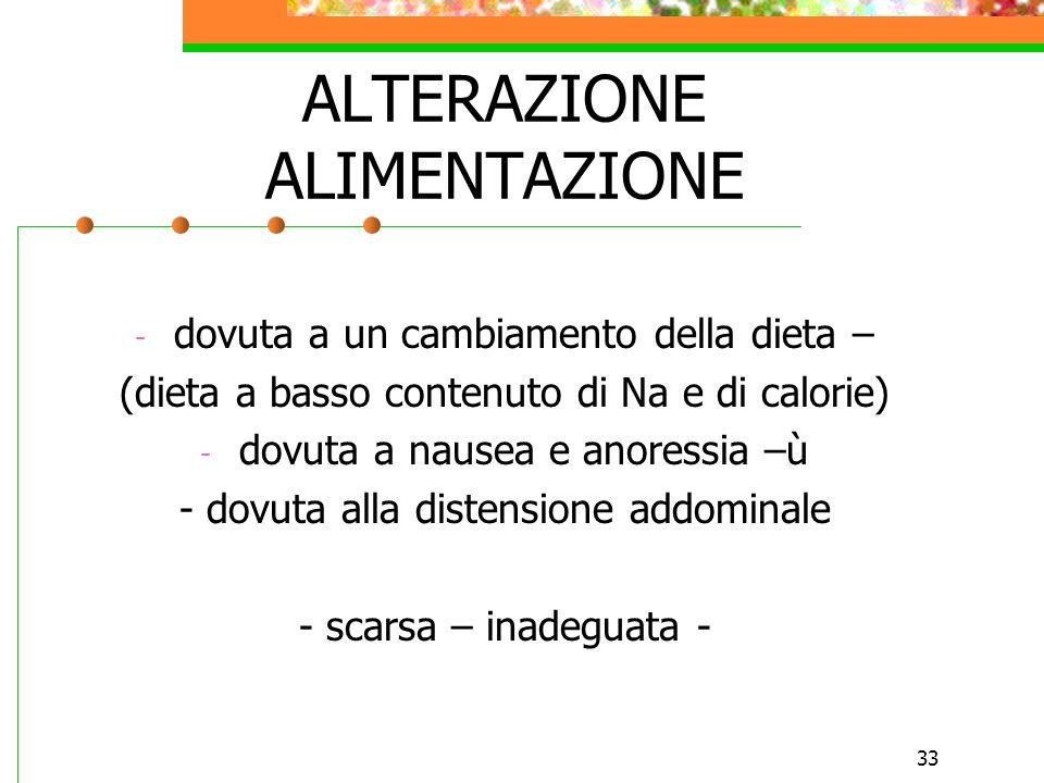 33 ALTERAZIONE ALIMENTAZIONE - dovuta a un cambiamento della dieta – (dieta a basso contenuto di Na e di calorie) - dovuta a nausea e anoressia –ù - d