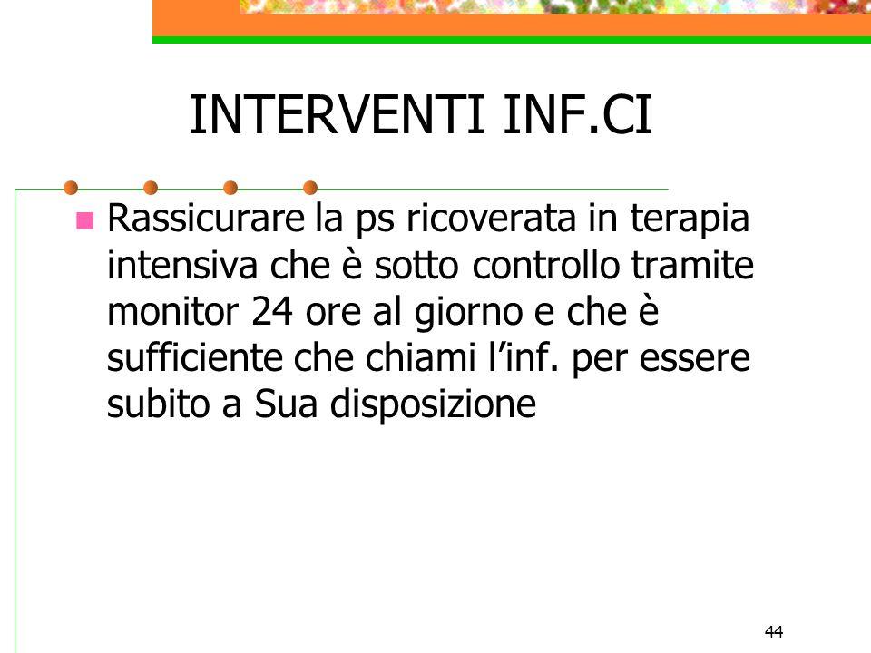 44 INTERVENTI INF.CI Rassicurare la ps ricoverata in terapia intensiva che è sotto controllo tramite monitor 24 ore al giorno e che è sufficiente che