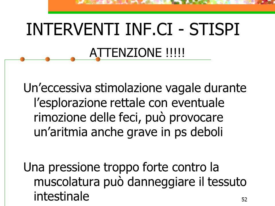 52 INTERVENTI INF.CI - STISPI ATTENZIONE !!!!! Uneccessiva stimolazione vagale durante lesplorazione rettale con eventuale rimozione delle feci, può p