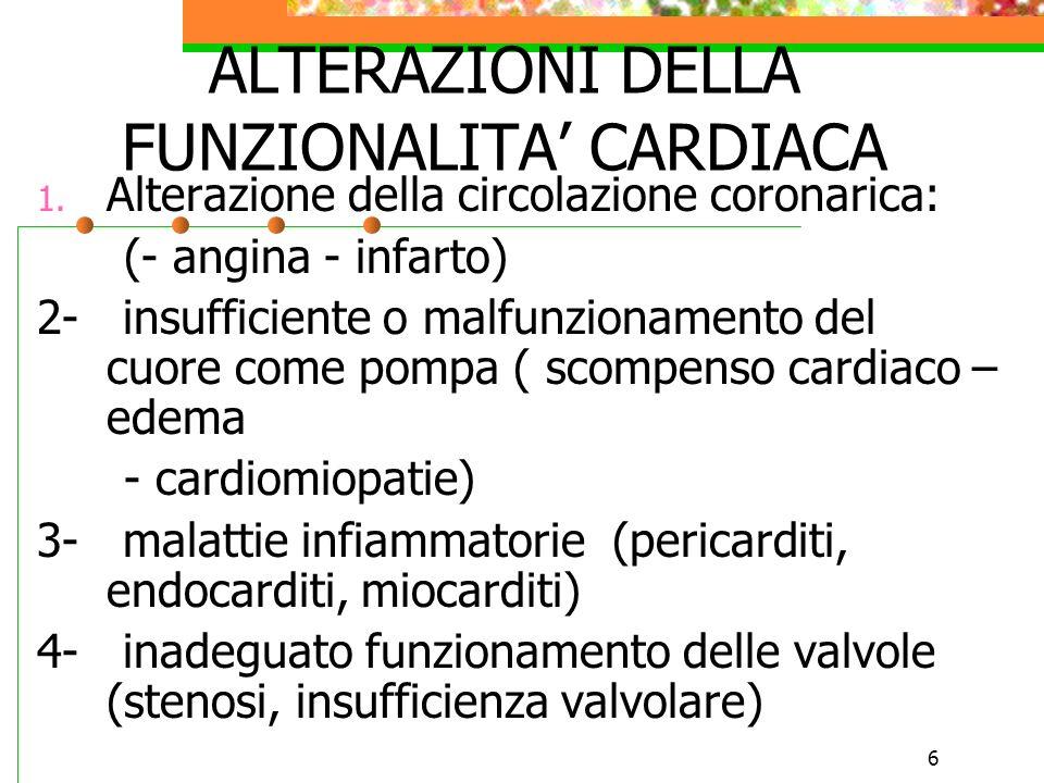 6 ALTERAZIONI DELLA FUNZIONALITA CARDIACA 1. Alterazione della circolazione coronarica: (- angina - infarto) 2- insufficiente o malfunzionamento del c