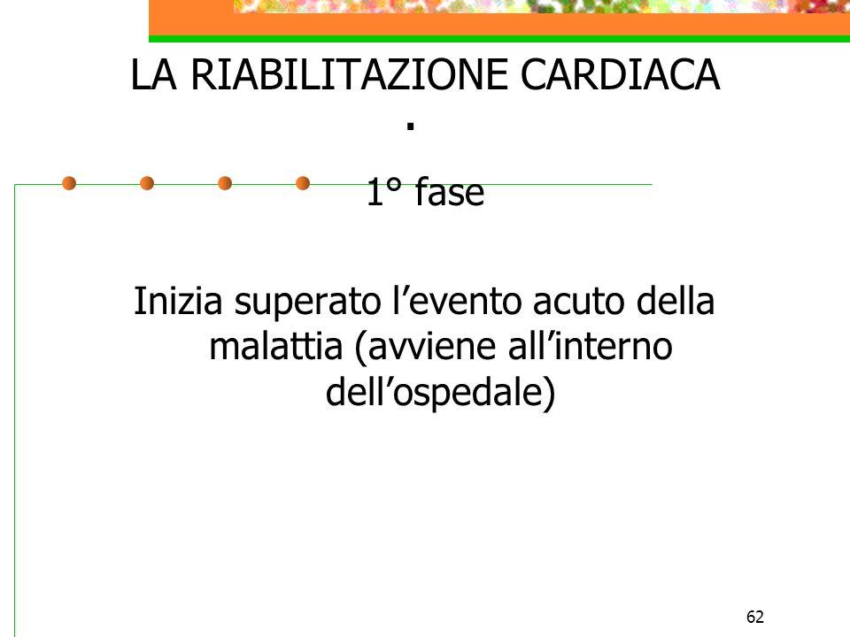 62. LA RIABILITAZIONE CARDIACA 1° fase Inizia superato levento acuto della malattia (avviene allinterno dellospedale)