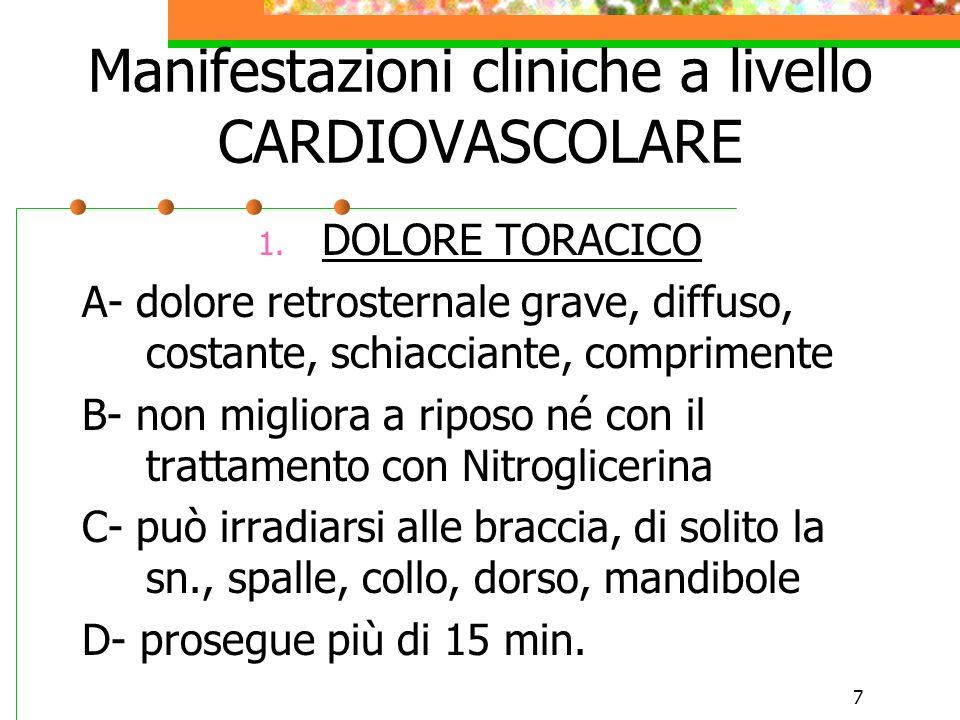 7 Manifestazioni cliniche a livello CARDIOVASCOLARE 1. DOLORE TORACICO A- dolore retrosternale grave, diffuso, costante, schiacciante, comprimente B-