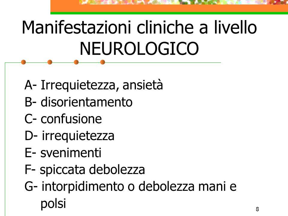 8 Manifestazioni cliniche a livello NEUROLOGICO A- Irrequietezza, ansietà B- disorientamento C- confusione D- irrequietezza E- svenimenti F- spiccata
