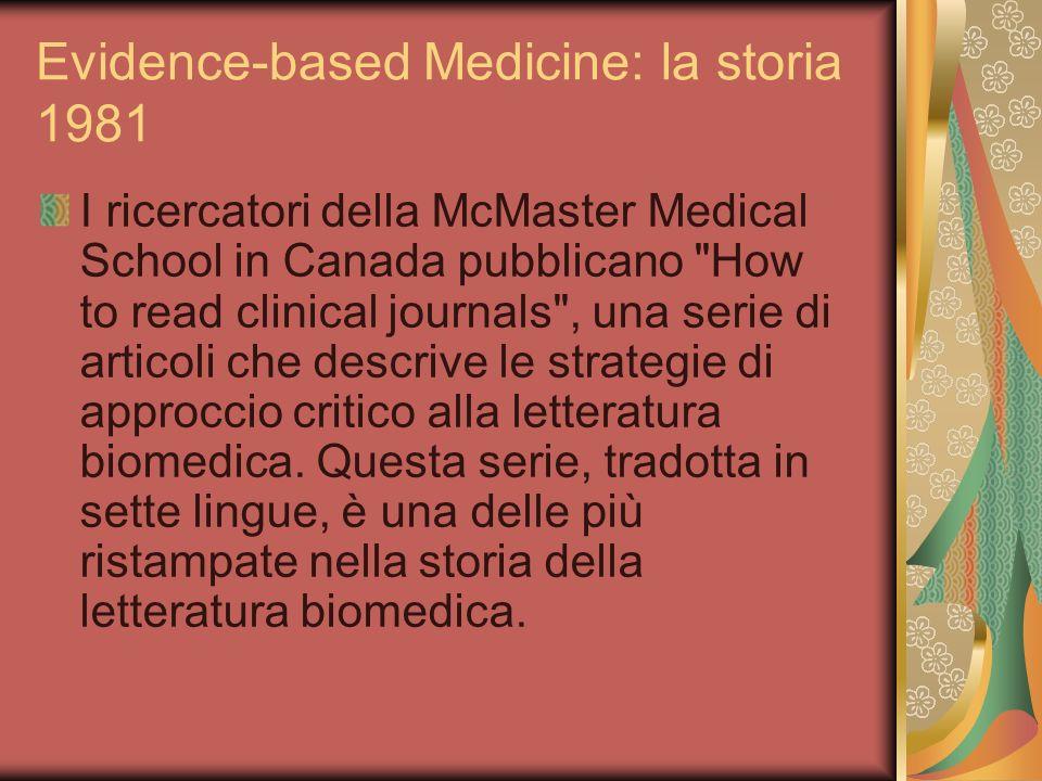 Evidence-based Medicine: la storia 1981 I ricercatori della McMaster Medical School in Canada pubblicano