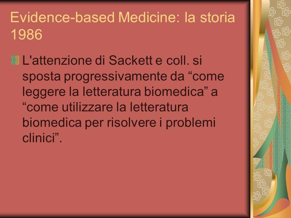 Evidence-based Medicine: la storia 1986 L'attenzione di Sackett e coll. si sposta progressivamente da come leggere la letteratura biomedica a come uti