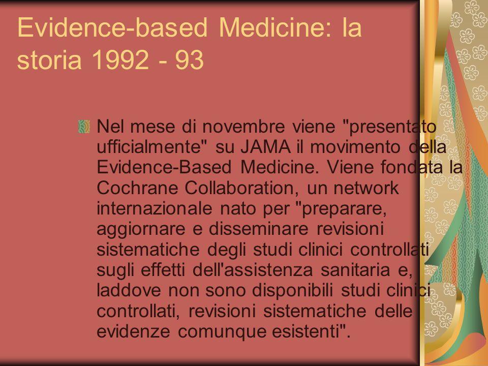 Evidence-based Medicine: la storia 1992 - 93 Nel mese di novembre viene