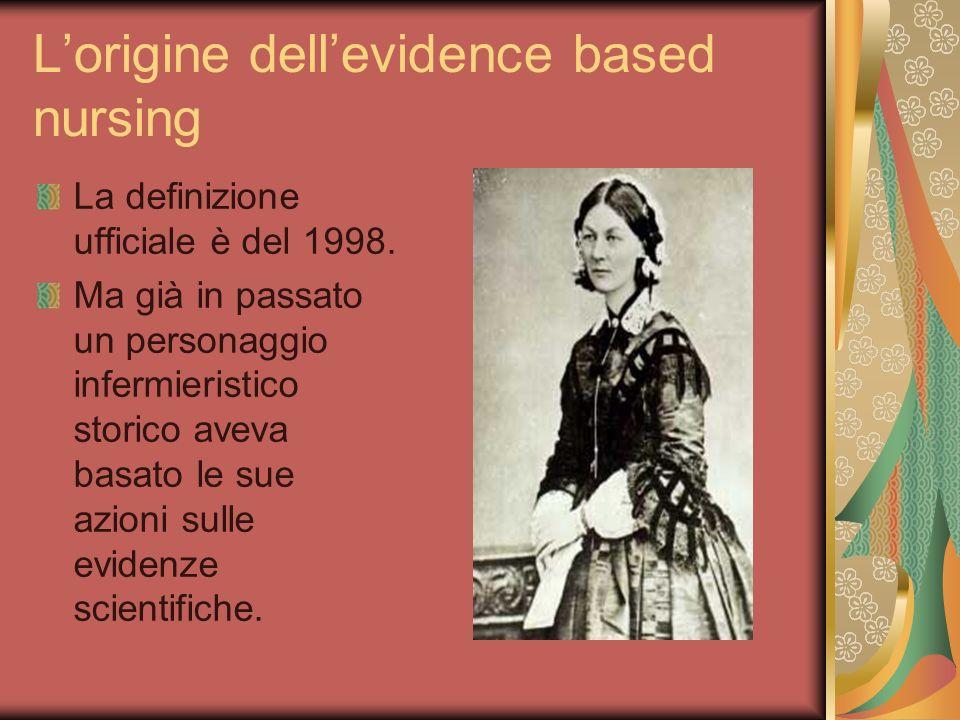 Lorigine dellevidence based nursing La definizione ufficiale è del 1998. Ma già in passato un personaggio infermieristico storico aveva basato le sue