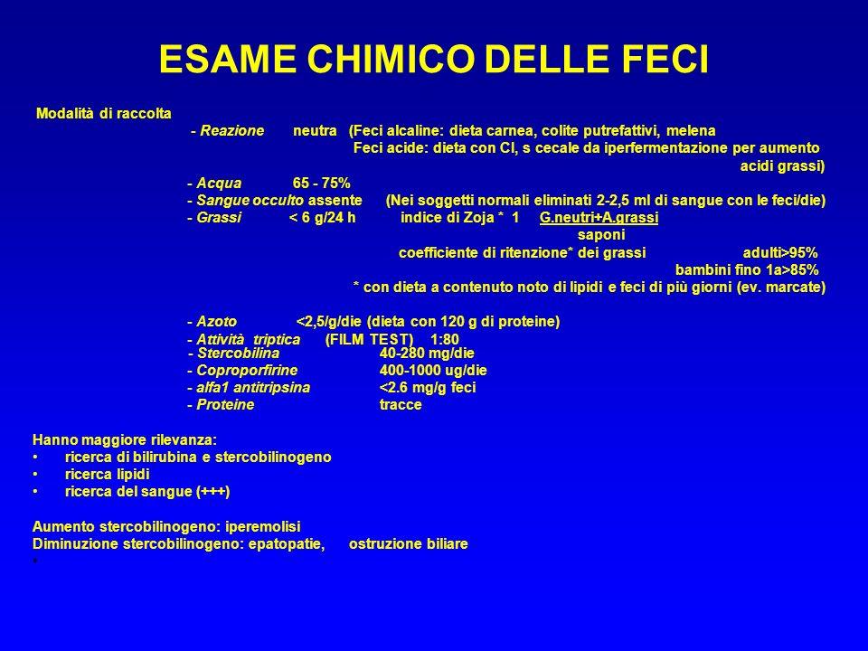 ESAME CHIMICO DELLE FECI Modalità di raccolta - Reazioneneutra (Feci alcaline: dieta carnea, colite putrefattivi, melena Feci acide: dieta con CI, s c