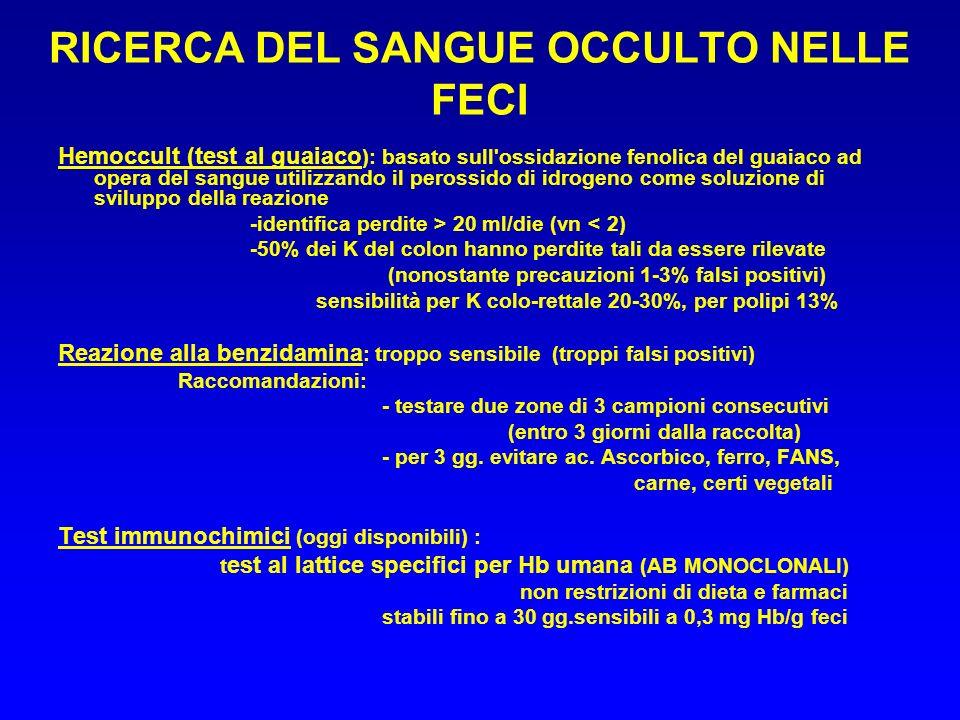 RICERCA DEL SANGUE OCCULTO NELLE FECI Hemoccult (test al guaiaco ): basato sull'ossidazione fenolica del guaiaco ad opera del sangue utilizzando il pe