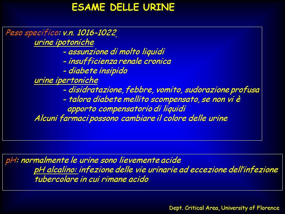 Dept. Critical Area, University of Florence ESAME DELLE URINE Peso specifico: v.n. 1016-1022 urine ipotoniche - assunzione di molto liquidi - insuffic
