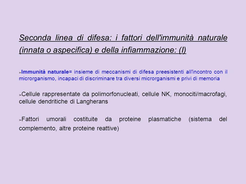 Seconda linea di difesa: i fattori dell'immunità naturale (innata o aspecifica) e della infiammazione: (I) Immunità naturale= insieme di meccanismi di