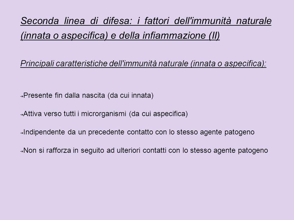 Seconda linea di difesa: i fattori dell'immunità naturale (innata o aspecifica) e della infiammazione (II) Principali caratteristiche dell'immunità na