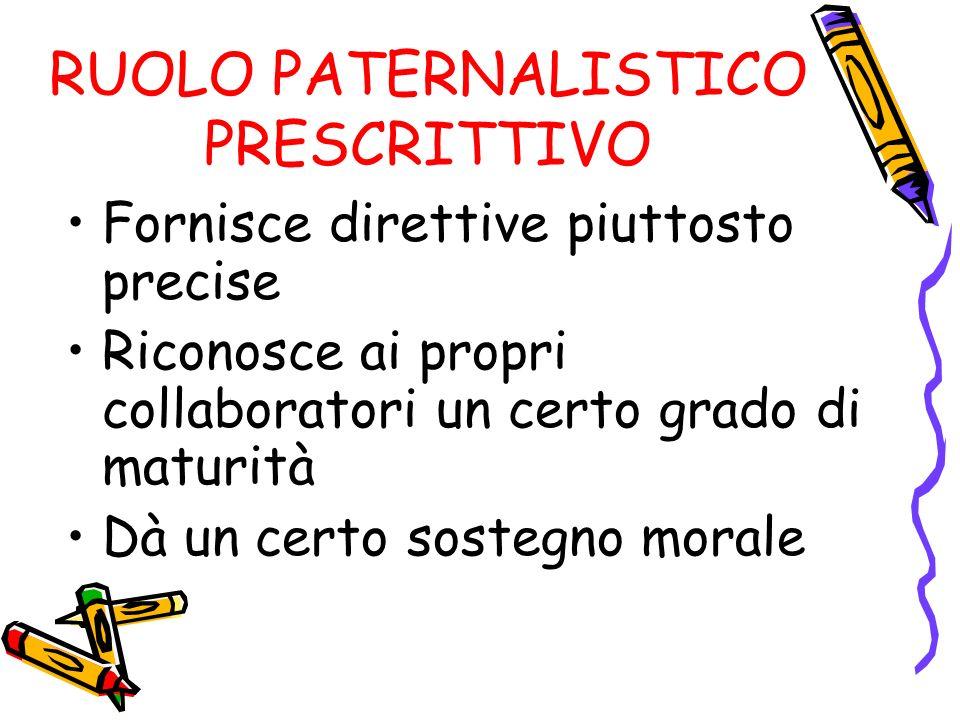 RUOLO PATERNALISTICO PRESCRITTIVO Fornisce direttive piuttosto precise Riconosce ai propri collaboratori un certo grado di maturità Dà un certo sosteg