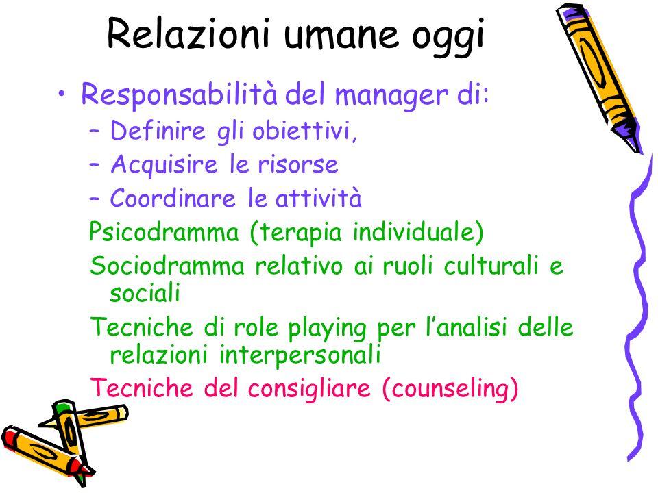 Relazioni umane oggi Responsabilità del manager di: –Definire gli obiettivi, –Acquisire le risorse –Coordinare le attività Psicodramma (terapia indivi