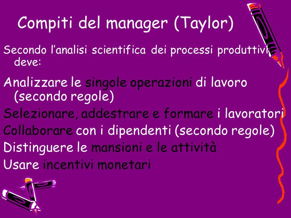 Compiti del manager (Taylor) Secondo lanalisi scientifica dei processi produttivi deve: Analizzare le singole operazioni di lavoro (secondo regole) Se