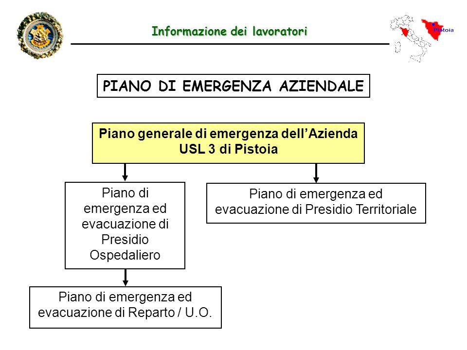 Informazione dei lavoratori PIANO DI EMERGENZA AZIENDALE Piano generale di emergenza dellAzienda USL 3 di Pistoia Piano di emergenza ed evacuazione di