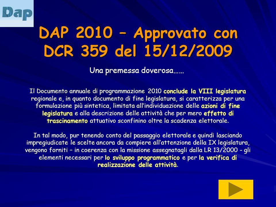 DAP 2010 – Approvato con DCR 359 del 15/12/2009 Una premessa doverosa…… Il Documento annuale di programmazione 2010 conclude la VIII legislatura regio