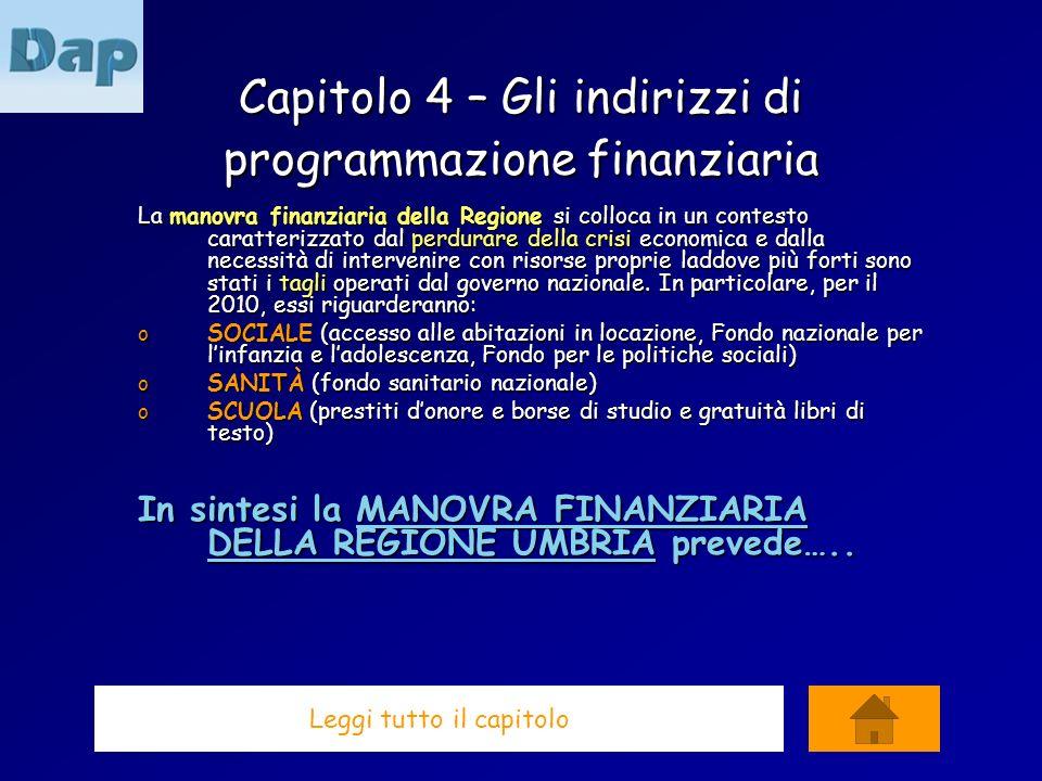 Capitolo 4 – Gli indirizzi di programmazione finanziaria La manovra finanziaria della Regione si colloca in un contesto caratterizzato dal perdurare d