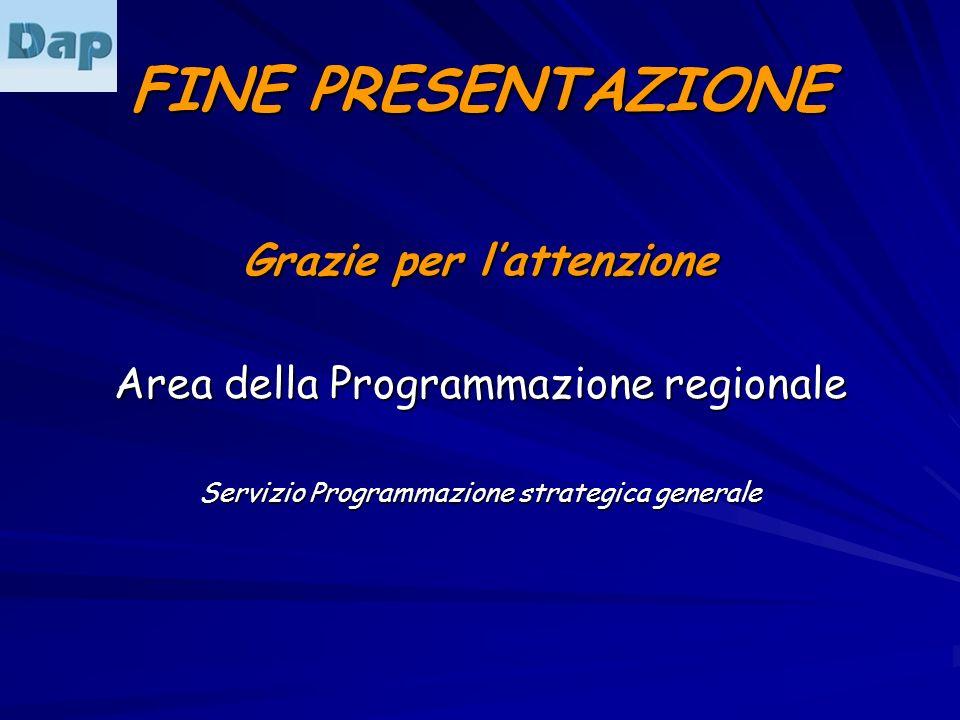 FINE PRESENTAZIONE Grazie per lattenzione Area della Programmazione regionale Servizio Programmazione strategica generale